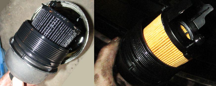 Starý a nový olejový filtr